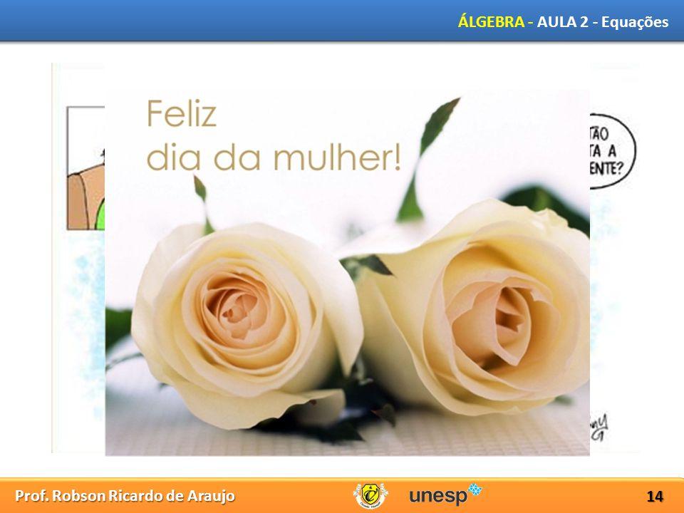 Prof. Robson Ricardo de Araujo ÁLGEBRA - AULA 2 - Equações 14