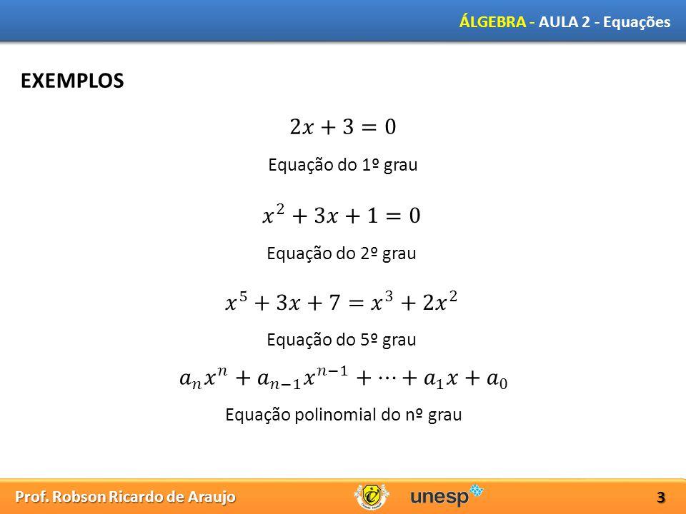 Prof. Robson Ricardo de Araujo ÁLGEBRA - AULA 2 - Equações 3 EXEMPLOS Equação do 1º grau Equação do 2º grau Equação do 5º grau Equação polinomial do n