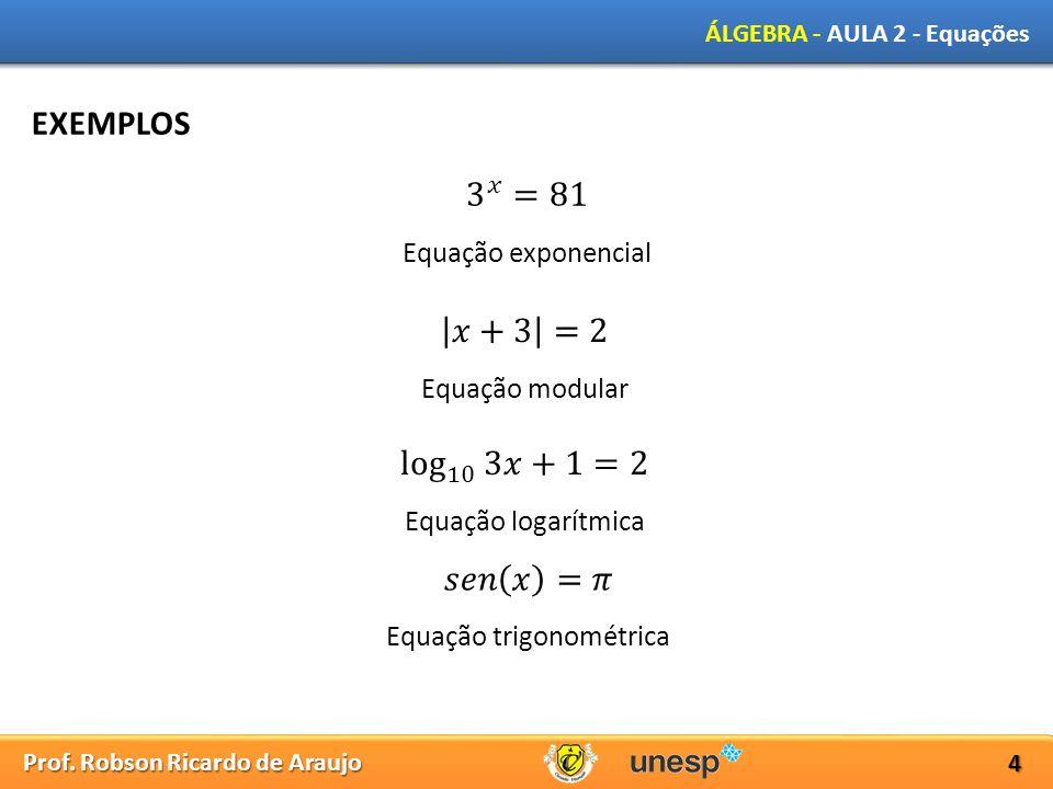 Prof. Robson Ricardo de Araujo ÁLGEBRA - AULA 2 - Equações 4 EXEMPLOS Equação exponencial Equação modular Equação logarítmica Equação trigonométrica