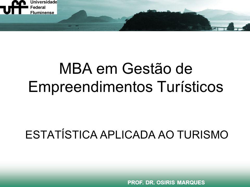 MBA em Gestão de Empreendimentos Turísticos ESTATÍSTICA APLICADA AO TURISMO PROF.
