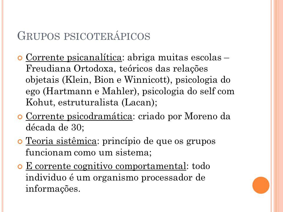 G RUPOS PSICOTERÁPICOS Corrente psicanalítica: abriga muitas escolas – Freudiana Ortodoxa, teóricos das relações objetais (Klein, Bion e Winnicott), p