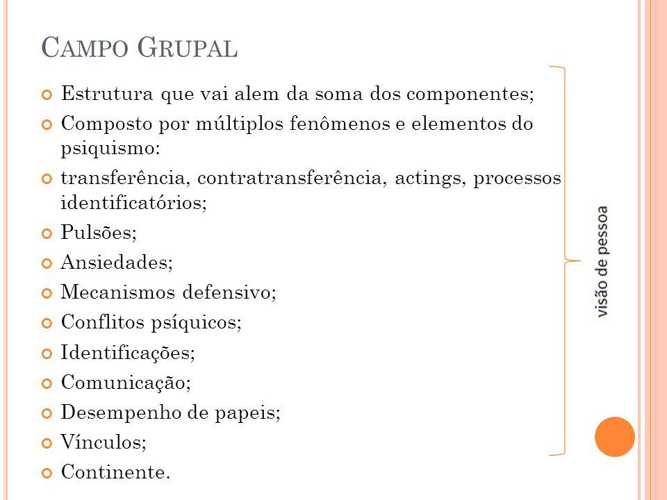 C AMPO G RUPAL Estrutura que vai alem da soma dos componentes; Composto por múltiplos fenômenos e elementos do psiquismo: transferência, contratransfe