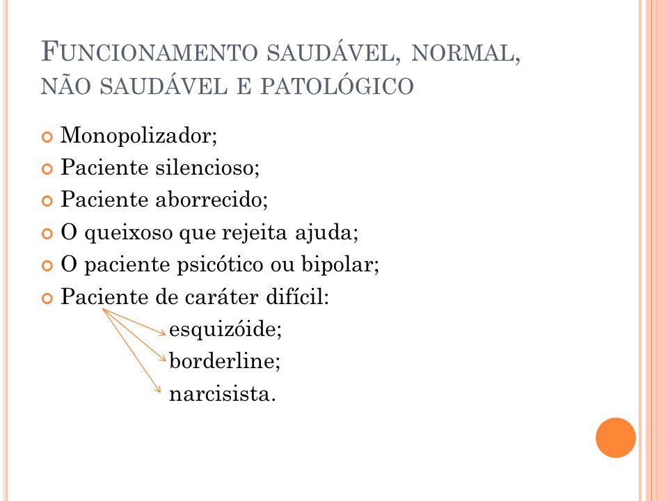 F UNCIONAMENTO SAUDÁVEL, NORMAL, NÃO SAUDÁVEL E PATOLÓGICO Monopolizador; Paciente silencioso; Paciente aborrecido; O queixoso que rejeita ajuda; O pa