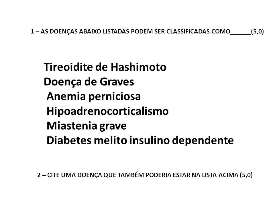 Tireoidite de Hashimoto Doença de Graves Anemia perniciosa Hipoadrenocorticalismo Miastenia grave Diabetes melito insulino dependente 1 – AS DOENÇAS A