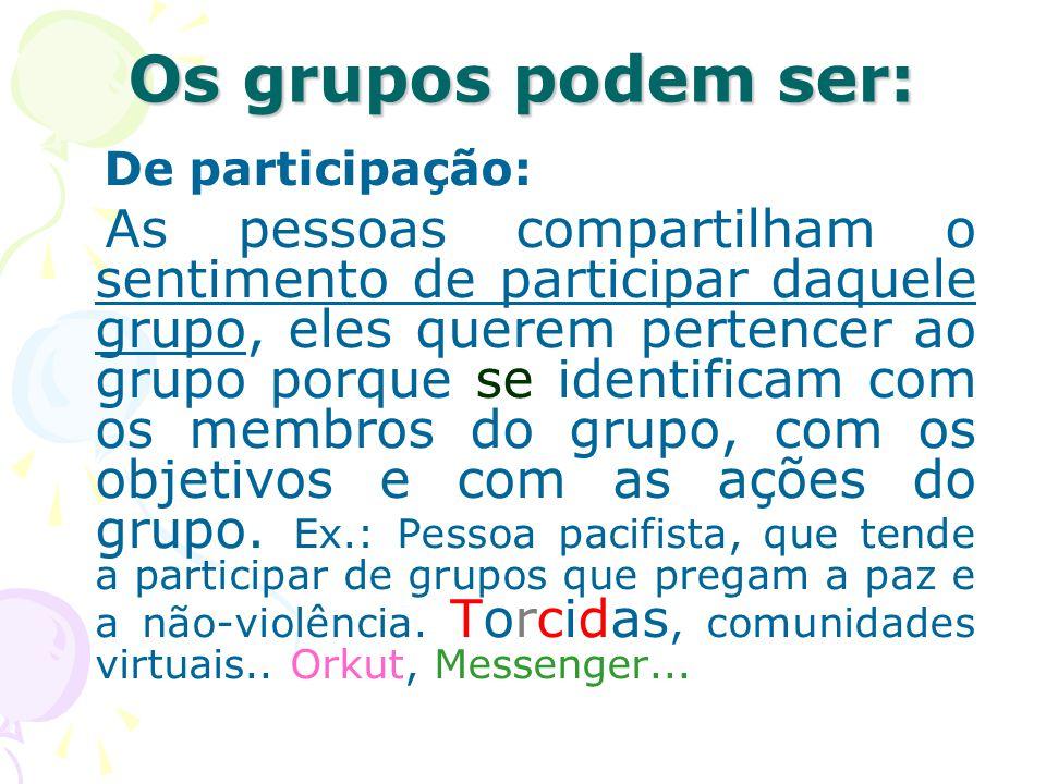 Os grupos podem ser: De participação: As pessoas compartilham o sentimento de participar daquele grupo, eles querem pertencer ao grupo porque se ident