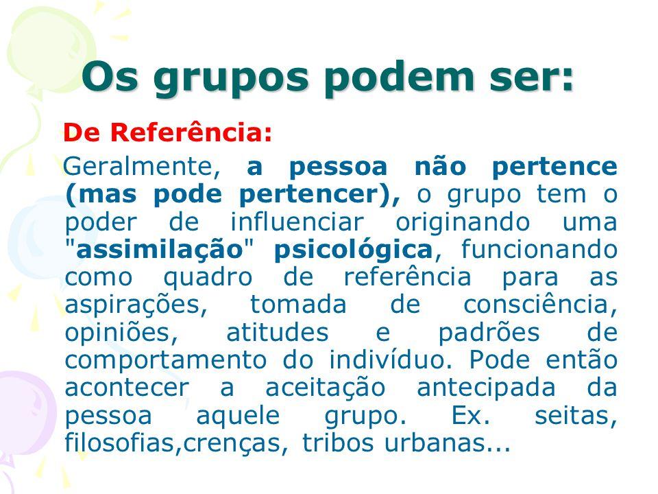 Os grupos podem ser: De Referência: Geralmente, a pessoa não pertence (mas pode pertencer), o grupo tem o poder de influenciar originando uma