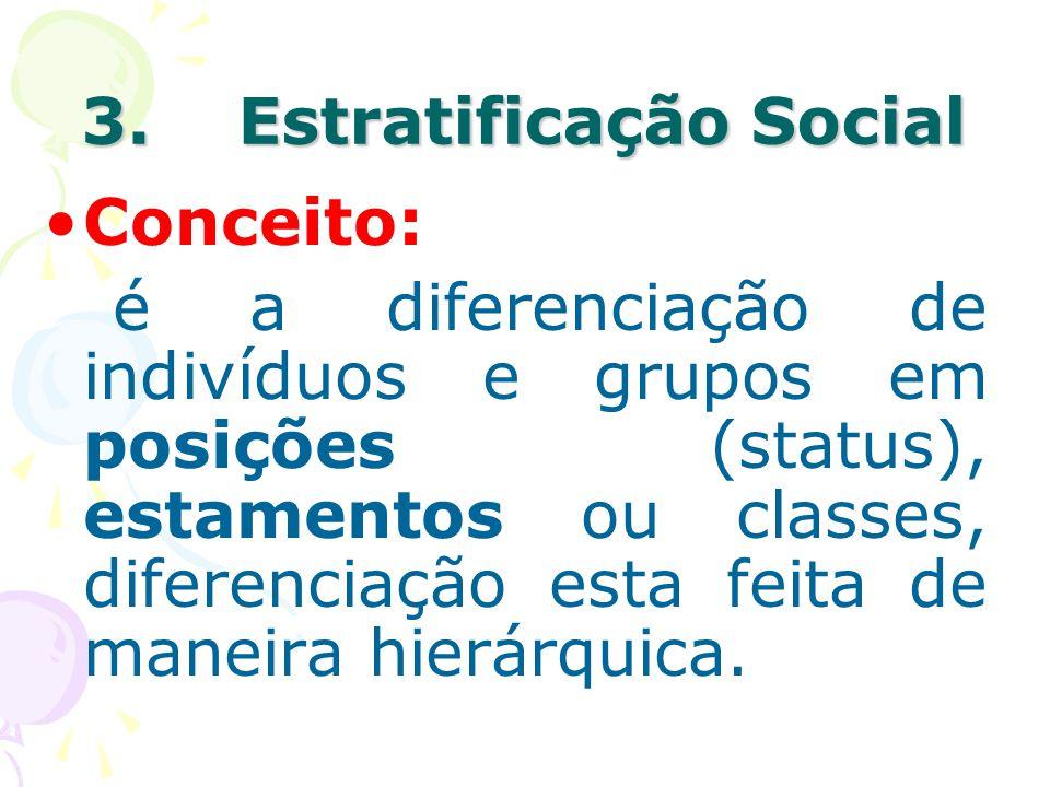 3. Estratificação Social Conceito: é a diferenciação de indivíduos e grupos em posições (status), estamentos ou classes, diferenciação esta feita de m