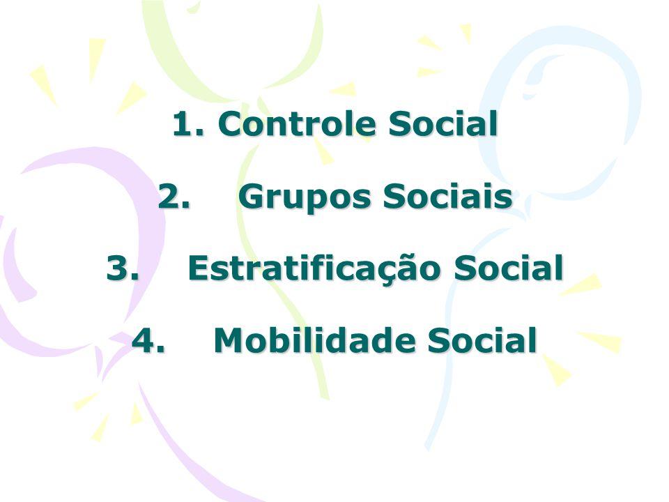 1. Controle Social 2. Grupos Sociais 3. Estratificação Social 4. Mobilidade Social