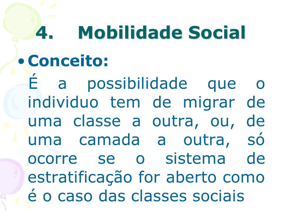 4. Mobilidade Social Conceito: É a possibilidade que o individuo tem de migrar de uma classe a outra, ou, de uma camada a outra, só ocorre se o sistem