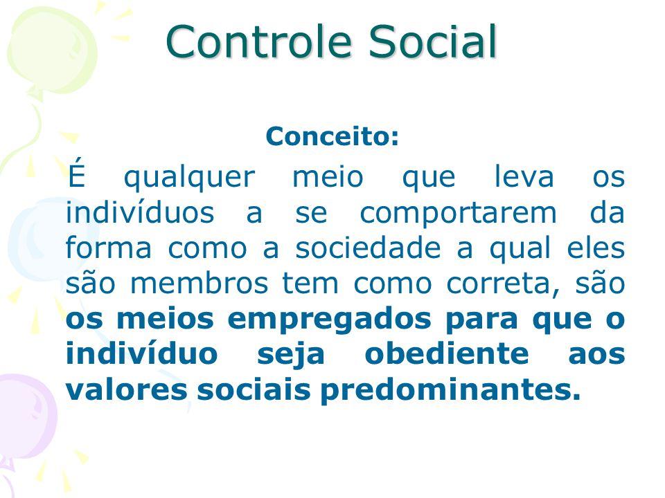Controle Social Conceito: É qualquer meio que leva os indivíduos a se comportarem da forma como a sociedade a qual eles são membros tem como correta,
