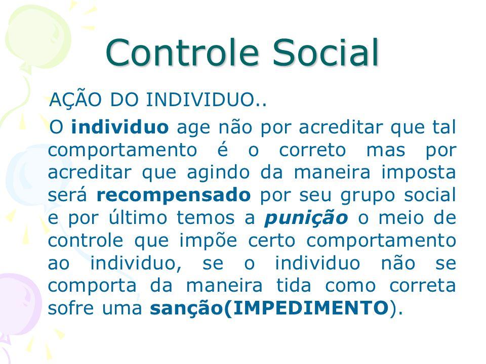 Controle Social AÇÃO DO INDIVIDUO.. O individuo age não por acreditar que tal comportamento é o correto mas por acreditar que agindo da maneira impost