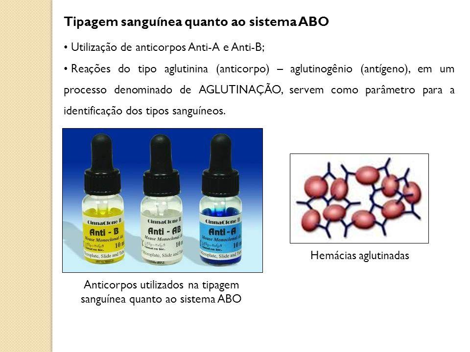 Tipagem sanguínea quanto ao sistema ABO Utilização de anticorpos Anti-A e Anti-B; Reações do tipo aglutinina (anticorpo) – aglutinogênio (antígeno), e