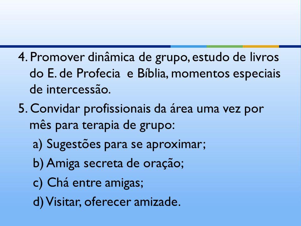 4. Promover dinâmica de grupo, estudo de livros do E. de Profecia e Bíblia, momentos especiais de intercessão. 5. Convidar profissionais da área uma v