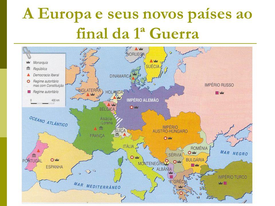 A Europa e seus novos países ao final da 1ª Guerra