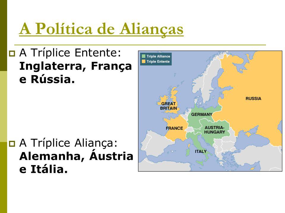 A Política de Alianças  A Tríplice Entente: Inglaterra, França e Rússia.  A Tríplice Aliança: Alemanha, Áustria e Itália.
