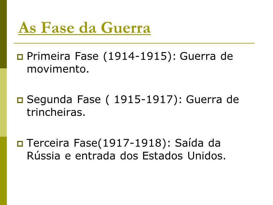 As Fase da Guerra  Primeira Fase (1914-1915): Guerra de movimento.  Segunda Fase ( 1915-1917): Guerra de trincheiras.  Terceira Fase(1917-1918): Sa