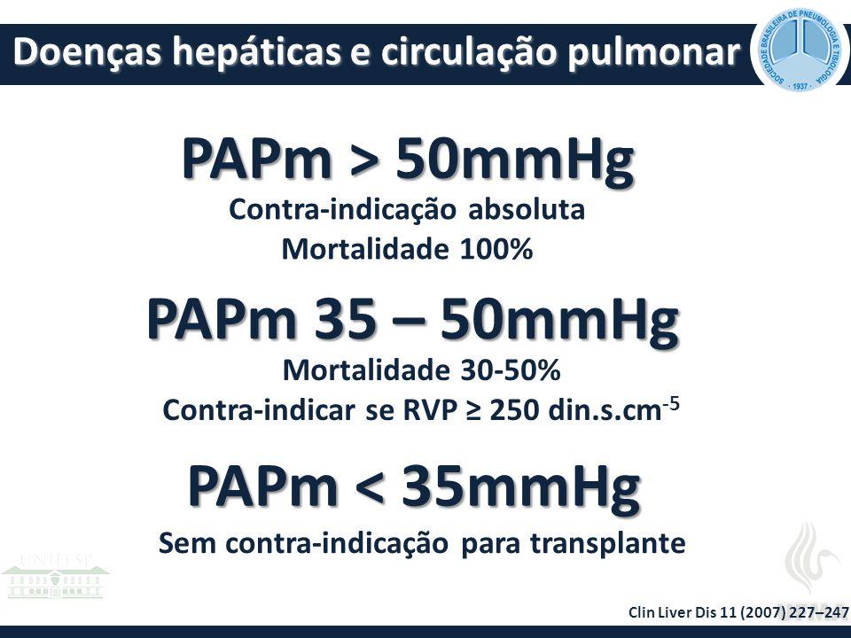 PAPm < 35mmHg Sem contra-indicação para transplante PAPm > 50mmHg PAPm 35 – 50mmHg Contra-indicação absoluta Mortalidade 100% Mortalidade 30-50% Contra-indicar se RVP ≥ 250 din.s.cm -5 Clin Liver Dis 11 (2007) 227–247