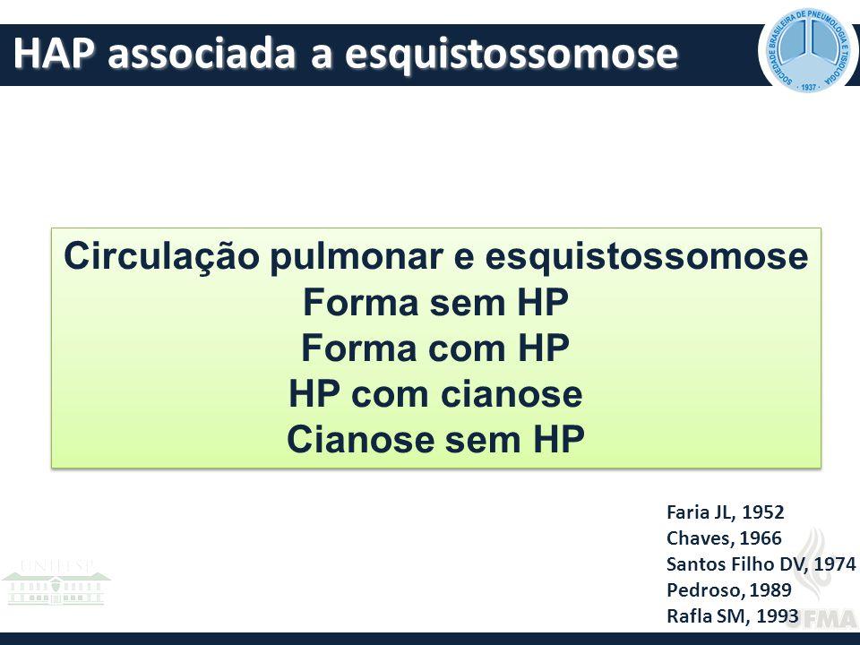 HAP associada a esquistossomose Faria JL, 1952 Chaves, 1966 Santos Filho DV, 1974 Pedroso, 1989 Rafla SM, 1993 Circulação pulmonar e esquistossomose Forma sem HP Forma com HP HP com cianose Cianose sem HP Circulação pulmonar e esquistossomose Forma sem HP Forma com HP HP com cianose Cianose sem HP