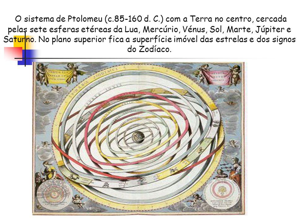O sistema de Ptolomeu (c.85-160 d. C.) com a Terra no centro, cercada pelas sete esferas etéreas da Lua, Mercúrio, Vénus, Sol, Marte, Júpiter e Saturn