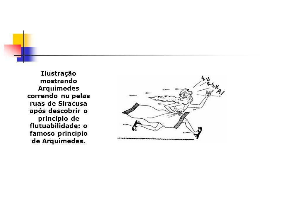 Ilustração mostrando Arquimedes correndo nu pelas ruas de Siracusa após descobrir o princípio de flutuabilidade: o famoso princípio de Arquimedes.