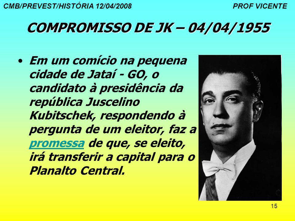 15 COMPROMISSO DE JK – 04/04/1955 Em um comício na pequena cidade de Jataí - GO, o candidato à presidência da república Juscelino Kubitschek, responde