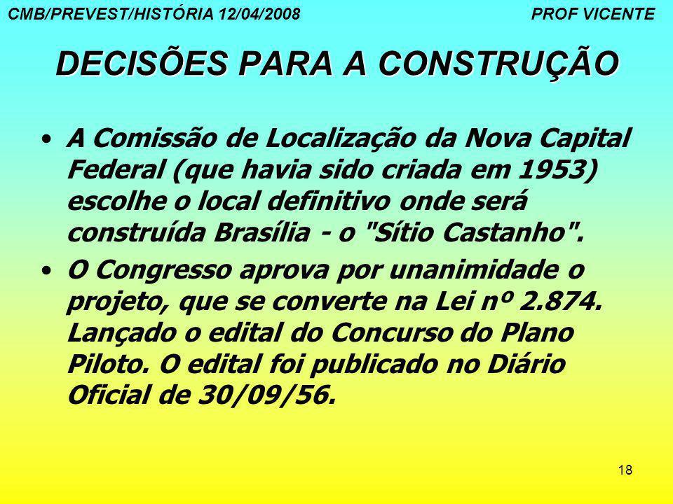 18 DECISÕES PARA A CONSTRUÇÃO A Comissão de Localização da Nova Capital Federal (que havia sido criada em 1953) escolhe o local definitivo onde será c