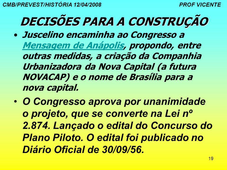 19 DECISÕES PARA A CONSTRUÇÃO Juscelino encaminha ao Congresso a Mensagem de Anápolis, propondo, entre outras medidas, a criação da Companhia Urbaniza