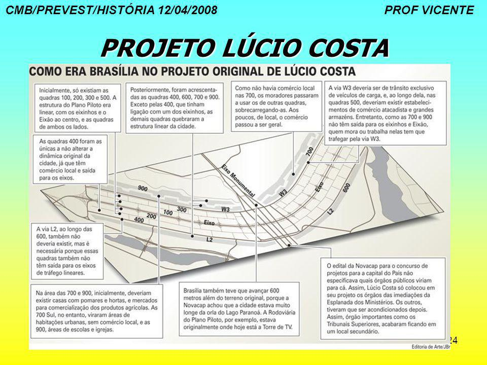 24 PROJETO LÚCIO COSTA CMB/PREVEST/HISTÓRIA 12/04/2008 PROF VICENTE