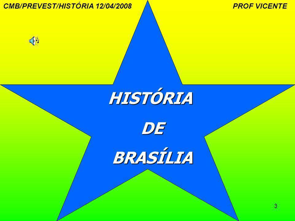 14 PEDRA FUNDAMENTAL-1922 Colocada a pedra fundamental da futura Capital Federal dos Estados Unidos do Brasil , perto da cidade de Planaltina, no perímetro do atual Distrito Federal.Planaltina CMB/PREVEST/HISTÓRIA 12/04/2008 PROF VICENTE