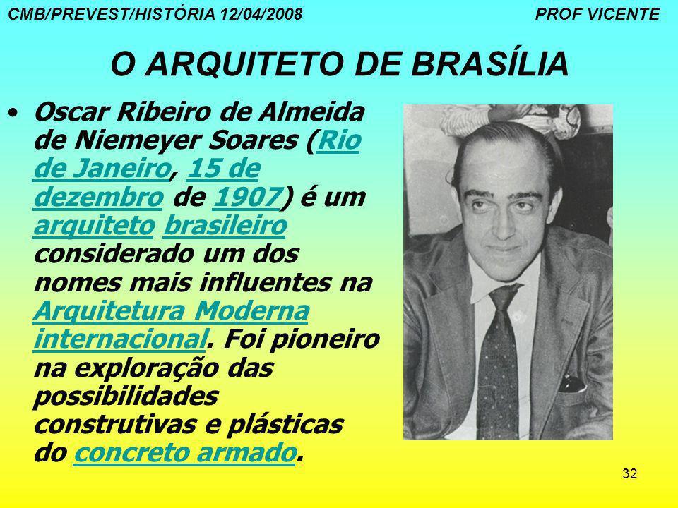 32 O ARQUITETO DE BRASÍLIA Oscar Ribeiro de Almeida de Niemeyer Soares (Rio de Janeiro, 15 de dezembro de 1907) é um arquiteto brasileiro considerado
