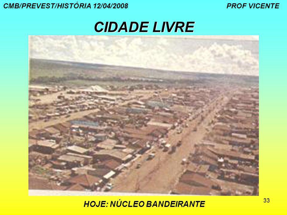 33 CIDADE LIVRE HOJE: NÚCLEO BANDEIRANTE CMB/PREVEST/HISTÓRIA 12/04/2008 PROF VICENTE