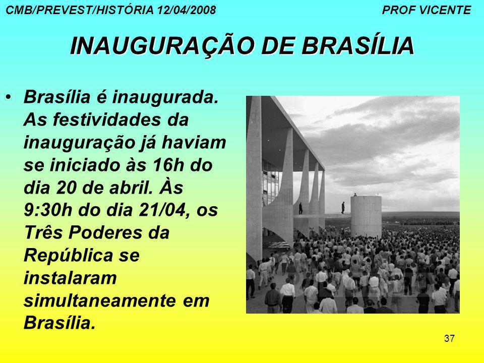 37 INAUGURAÇÃO DE BRASÍLIA Brasília é inaugurada. As festividades da inauguração já haviam se iniciado às 16h do dia 20 de abril. Às 9:30h do dia 21/0