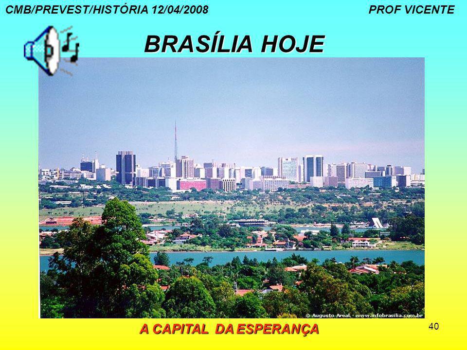 40 BRASÍLIA HOJE CMB/PREVEST/HISTÓRIA 12/04/2008 PROF VICENTE A CAPITAL DA ESPERANÇA A CAPITAL DA ESPERANÇA