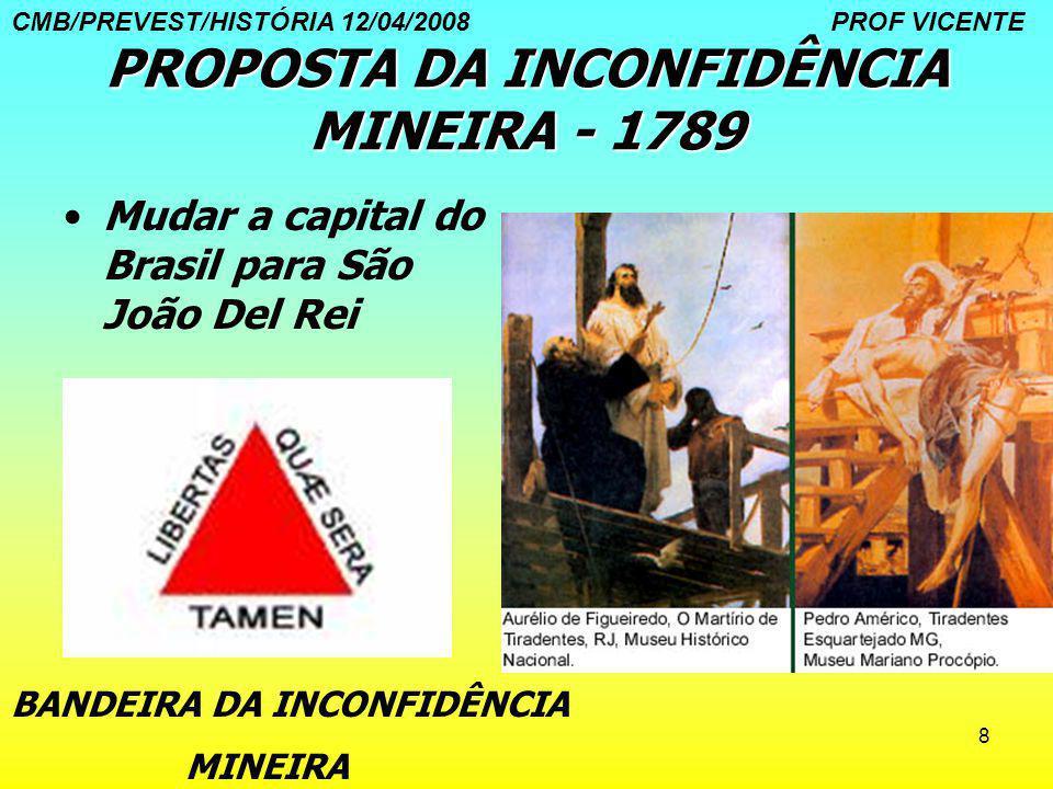 8 PROPOSTA DA INCONFIDÊNCIA MINEIRA - 1789 Mudar a capital do Brasil para São João Del Rei BANDEIRA DA INCONFIDÊNCIA MINEIRA CMB/PREVEST/HISTÓRIA 12/0