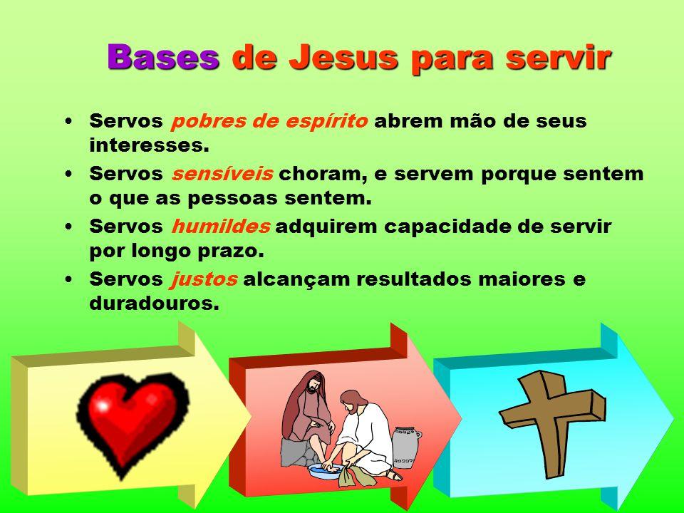 Bases de Jesus para servir Servos pobres de espírito abrem mão de seus interesses. Servos sensíveis choram, e servem porque sentem o que as pessoas se