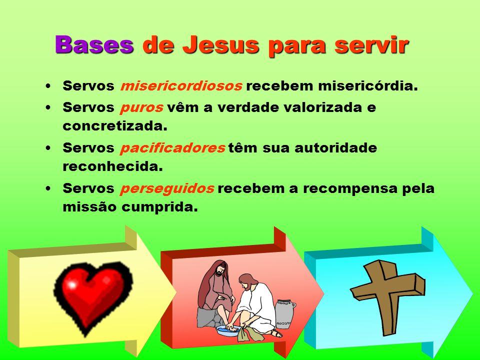 Bases de Jesus para servir Servos misericordiosos recebem misericórdia. Servos puros vêm a verdade valorizada e concretizada. Servos pacificadores têm