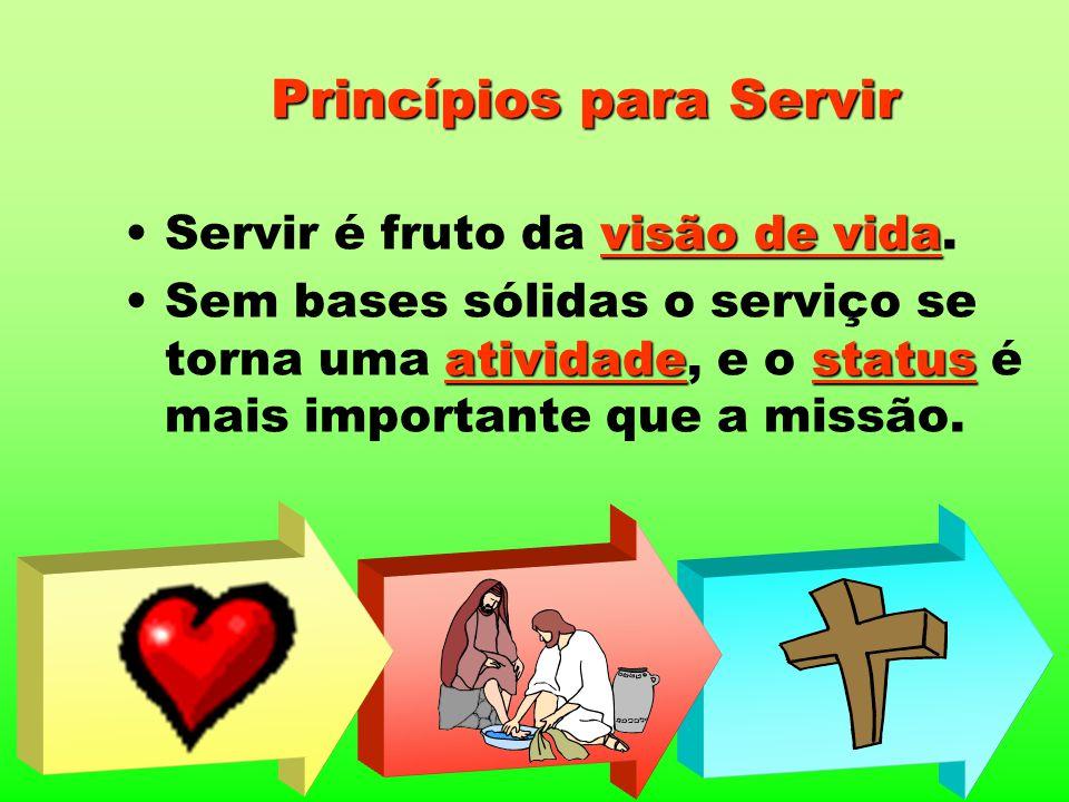 Princípios para Servir visão de vidaServir é fruto da visão de vida. atividadestatusSem bases sólidas o serviço se torna uma atividade, e o status é m