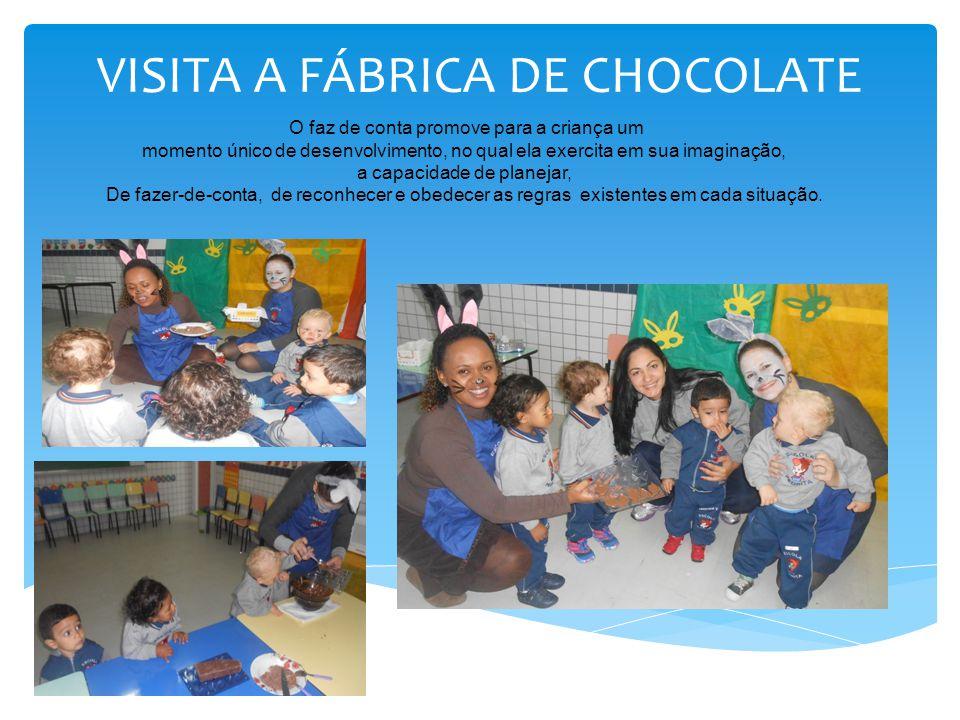 VISITA A FÁBRICA DE CHOCOLATE O faz de conta promove para a criança um momento único de desenvolvimento, no qual ela exercita em sua imaginação, a cap