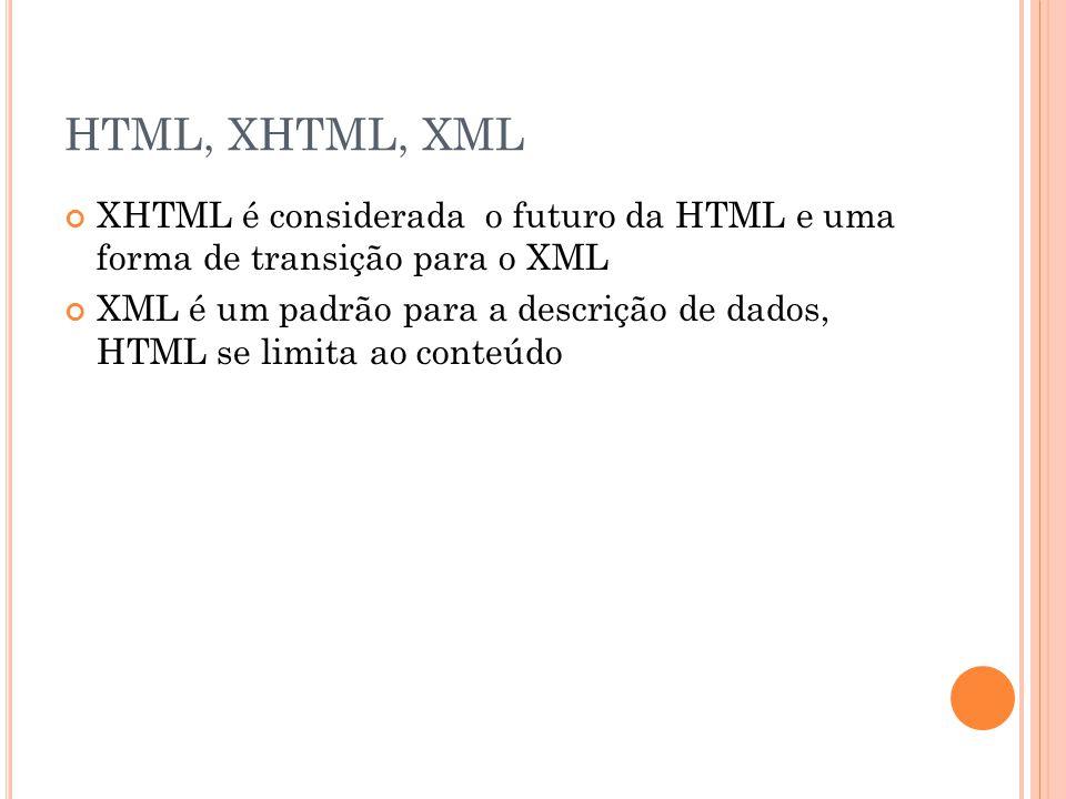 HTML, XHTML, XML XHTML é considerada o futuro da HTML e uma forma de transição para o XML XML é um padrão para a descrição de dados, HTML se limita ao conteúdo