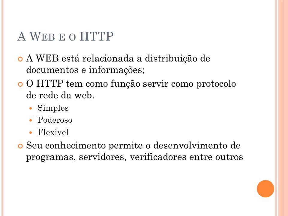 HTML & URL, URI, URN HTML – Linguagem de marcação de texto, estabelece as convenções para a descrição do conteúdo de um documento hipertexto; URI – É uma forma generalizada para se referir a um recurso, URI inclui um URN e um URL URN – Se refere ao nome do arquivo em si, um arquivo por exemplo URL – Se refere a localização desse recurso