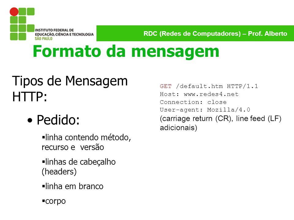 RDC (Redes de Computadores) – Prof. Alberto Formato da mensagem Tipos de Mensagem HTTP: Pedido:  linha contendo método, recurso e versão  linhas de
