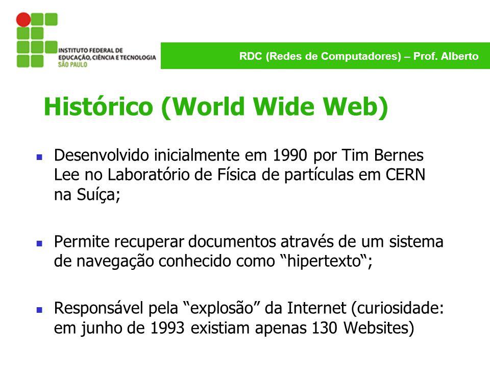 RDC (Redes de Computadores) – Prof. Alberto Histórico (World Wide Web) Desenvolvido inicialmente em 1990 por Tim Bernes Lee no Laboratório de Física d