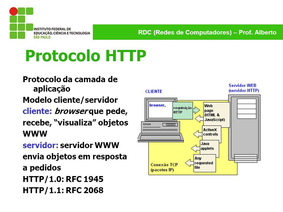 RDC (Redes de Computadores) – Prof. Alberto Protocolo HTTP Protocolo da camada de aplicação Modelo cliente/servidor cliente: browser que pede, recebe,