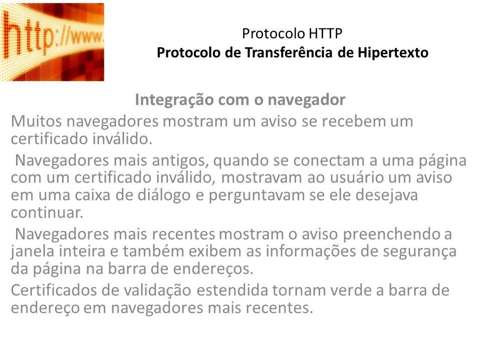 Protocolo HTTP Protocolo de Transferência de Hipertexto Integração com o navegador Muitos navegadores mostram um aviso se recebem um certificado invál