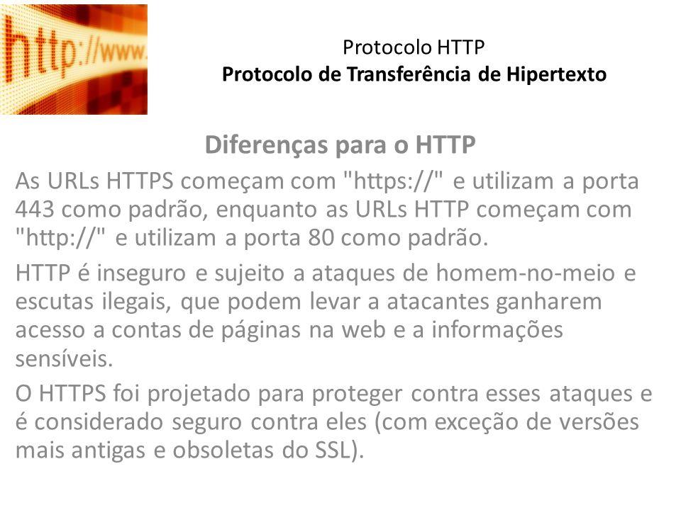 Protocolo HTTP Protocolo de Transferência de Hipertexto Diferenças para o HTTP As URLs HTTPS começam com