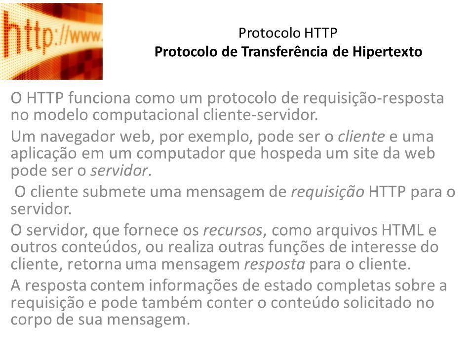 Protocolo HTTP Protocolo de Transferência de Hipertexto O HTTP funciona como um protocolo de requisição-resposta no modelo computacional cliente-servi