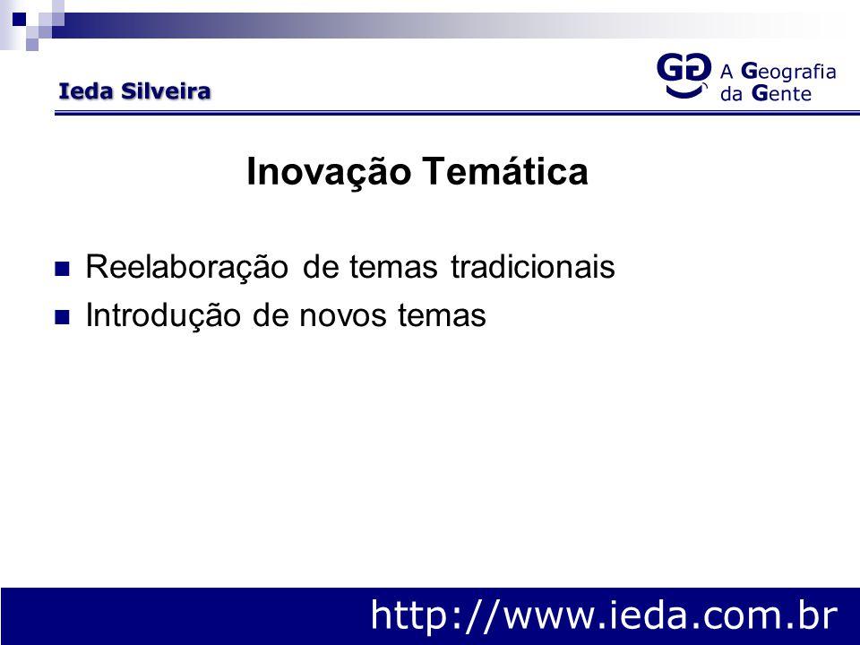 Inovação Temática Reelaboração de temas tradicionais Introdução de novos temas http://www.ieda.com.br