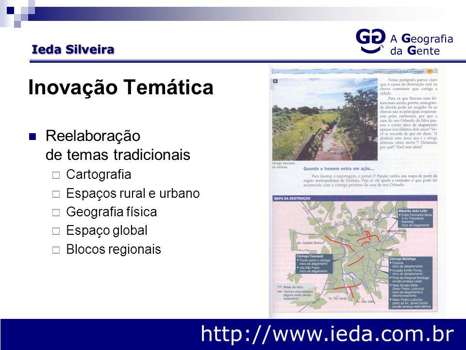 Inovação Temática Reelaboração de temas tradicionais  Cartografia  Espaços rural e urbano  Geografia física  Espaço global  Blocos regionais http://www.ieda.com.br
