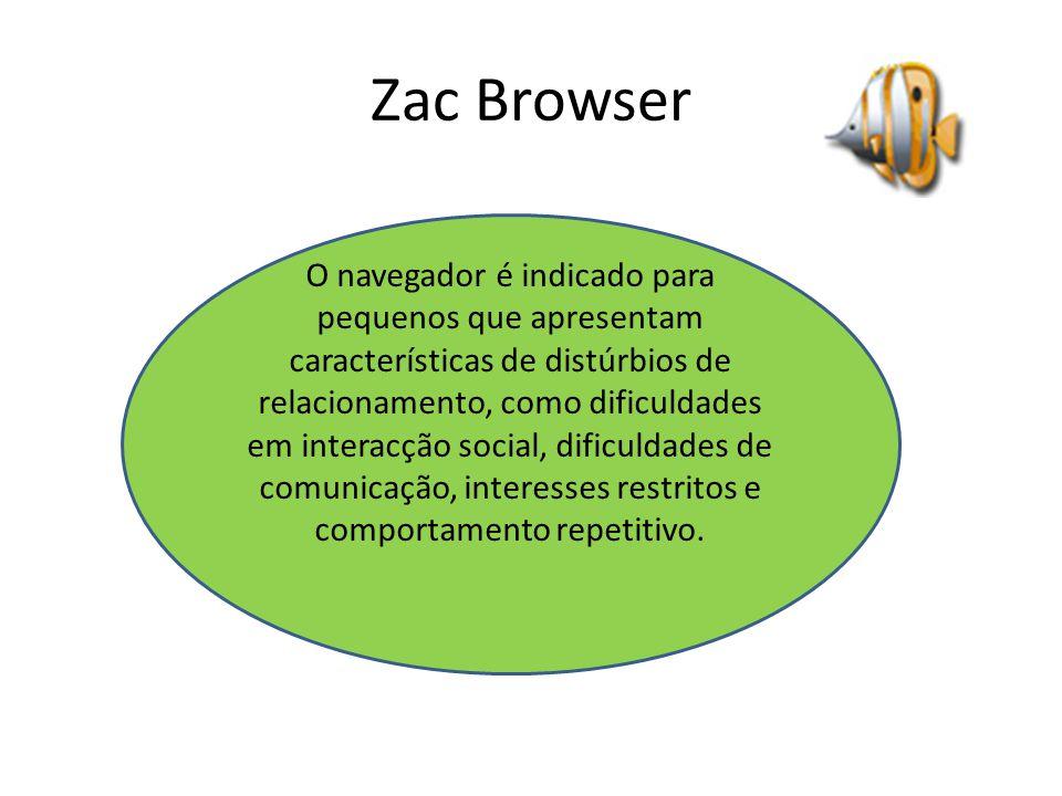 Zac Browser O navegador é indicado para pequenos que apresentam características de distúrbios de relacionamento, como dificuldades em interacção social, dificuldades de comunicação, interesses restritos e comportamento repetitivo.