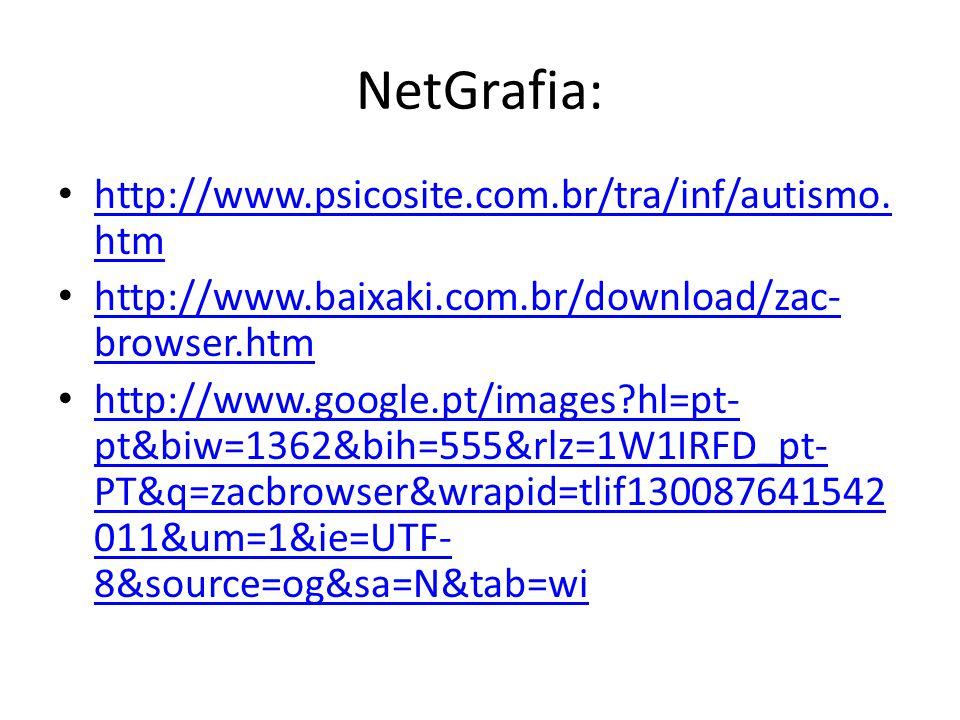 NetGrafia: http://www.psicosite.com.br/tra/inf/autismo.